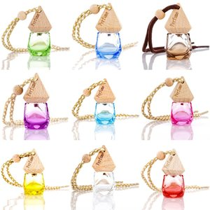 8ML Colorful Car Perfume Pendant Air Freshener Glass Clear Refillable Car Fragrance Perfume Hanging Empty Bottle Car Accessories
