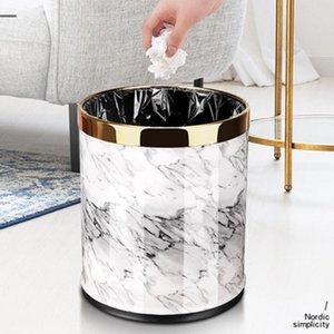 Marble Pattern 10L Trash Can Bin Buckets Diameter 23cm Height 27cm Waste Bins Living Room Bathroom Kitchen Dustbin Trash Bin