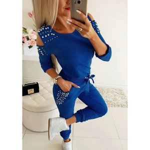 Fashion Two Pieces Women Set Autumn Solid Color Beading Jogging Running Sports Suits Casual Slim Fit Leisure Sport Suit #a2