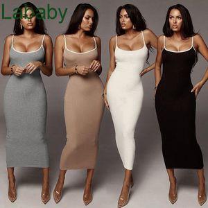 2021 Summer New Women Wear Color Contrast Sling Sexy Dew Backpack Hip Slim Dress Designer Fashion Solid Colour Suspender Skirt