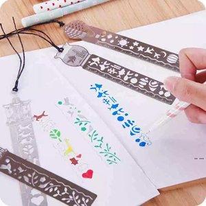 4 Стили Классическая металлическая линейка в закладки Креативные студенческие подарки Античные подарки Ретро канцелярские стальные стальные модные линейки закладки HWA4199