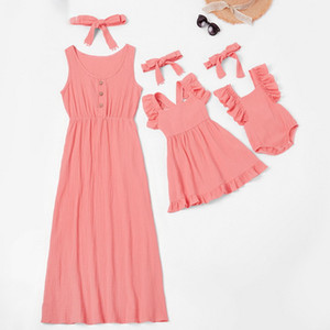 2021 New Summer Family Matching Outfits Dress Sleevesless Soild Color Ruffles Mom and Baby Girl Matching Clothes E432