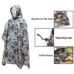 3 en 1 al aire libre impermeable impermeable lluvia capa hombres impermeable mujer toldo de la lluvia motocicleta Poncho Picnic Mat