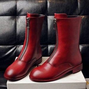 Boots Front Zipper Ankle Boots For Women Flat Western Short Autumn Winter Red Black White Ladies Shoes 45oM#