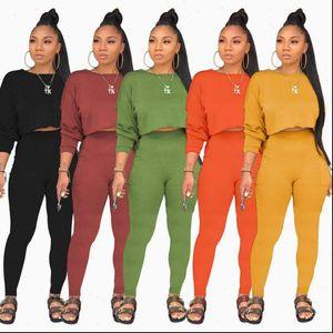 Women Fall Clothing 2021 Black Green Yellow Orange 2 Peice Set Women Matching Sets Sexy Winter Two Piece Set Top Pants Outfits