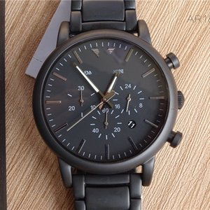 A1tiktok Ar Mani Business Black Three Eyes Fashion Steel Belt Waterproof Quartz Man Watch Ar1895a1