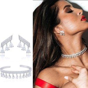 GODKI Korea Arabia Bangle Earring Jewelry Set For Women Wedding Trendy Cubic Zircon Crystal CZ aretes de mujer modernos 2019