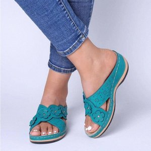 Summer Women Slippers Rome Retro Three Color Casual Shoes Thick Bottom Wedge Open Toe Sandals Beach Slip On Slides Female@3 i8R6#