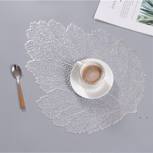 4 Colors Hollow Leaf PVC Placemats Simulation Plant Dining Table Mats Cup Coasters Insulation Pad Waterproof Disc Bowl Pads Decor BWF5294