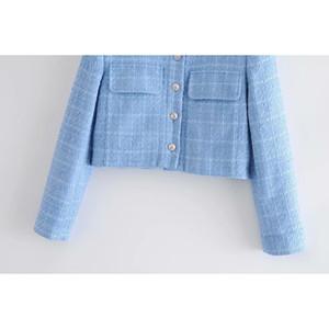 2021 new Blue female toppies short women's pockets spring coat tops I8U3