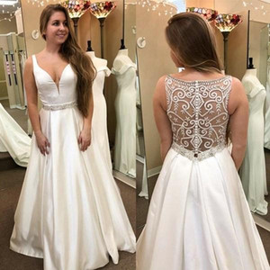 2021 Beach Wedding Dresses Satin V Neck Crystals Straps Beaded Sexy Illusion Embroidery Covered Buttons Back Wedding Gown Vestidos
