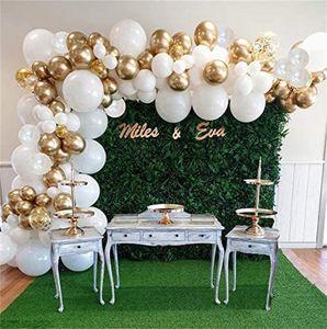 White Balloon Garland Arch Kit, White Gold Confetti Balloons 98 PCS, Artificial Palm Leaves 6 PCS Wedding Birthday Decorations