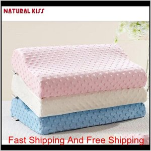 Wholesale- New Neck Pillow Fiber Slow Rebound Memory Foam Massage Pillowcase Pillow Cervical Health Care Soft Neck Foam Pillow Pxhy2 Vlfds