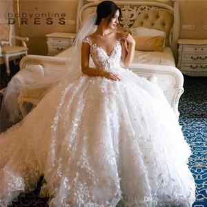 Prinzessin Weiße Flare Applikationen Spitze Brautkleider Elegante Ballkleid außerhalb der Schulter Dubai Arabisch Stil Brautkleider mit langem Zug