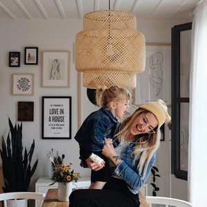 38 50cm Bamboo Wicker Rattan Shade Pendant Light Fixture Nordic Rustic Primitive Asian Vintage Hanging Ceiling Lamp for Office