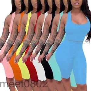 Chándal de mujer 2021 Diseñador de verano moda mujer sexy u cuello sólido color sólido 2 pieza conjunto sin mangas chaleco y pantalones cortos de ropa delgada