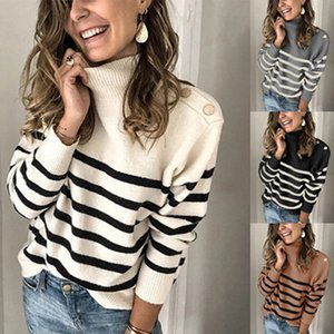 2021 New Fashion Women's Turtleneck Sweater Autumn Winter Long Sleeve Knitted Pullover Ladies Striped Sweaters Knitwear Vv00
