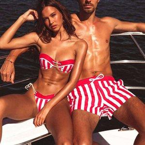 Fashion Couple Swimwear Swimsuit Men Swimming Trunks Bathing Suit Women 2pcs Stripe Bikini Set