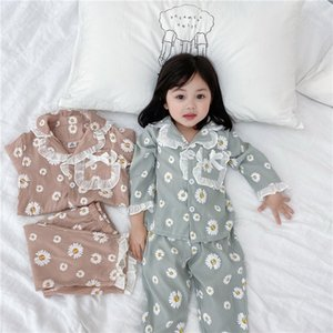 2021 New Spring Baby Pajamas Sets Pink Blue Daisy Lace Collar Home Suits Sleep Swear Kids Clothes E5032