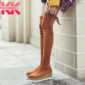 KemeKiss New Thigh High Stretch Boots Women Winter Keep Warm Casual Zipper Thick Bottom Platform Shoes Women Size 34 39 Over The Knee S24f#