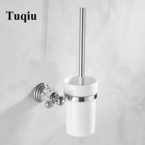 2021 New Toilet Cleaning Brush Holder Set Bathroom Accessories Chrome Solid Brass and Crystal 3 Color Dp4o