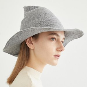 Wide Brim Hats Fashion Wool Knit Witch Hat Solid Cone Cap Gifts For Daughter Girlfriend Wife Halloween Dress Up