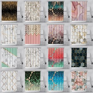 Geometric Marble Shower Curtain 3D Printed Hexagons Patterned Polyester Fabric Waterproof Bathroom Curtain with Plastic Hook