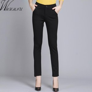 WMWMNU Femmes Pantalons Travailler Port Personal Spring Noir Pantalon Pantalon Plus Taille 4XL Pantalon Slim Slim Pantalones élastiques Mujer T200103