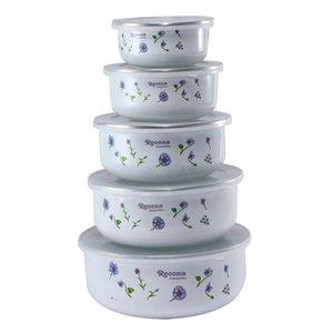 Bowls 5PCS   Set Enamel Cold Storage Bowl Instant Noodle Rice Fresh Box Sealed Soup With PP Cover