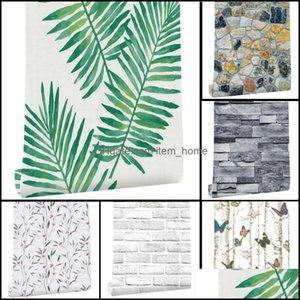 Décor & Gardenbrick Stone Self Adhesive Wallpaper Modern Simple Living Room Kitchen Wall Sticker Waterproof Home Decor Removable Wallpapers