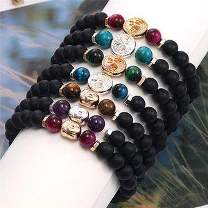 Lady Lava Rock Stone Beads Bracelet Charm Rock Natural Stone Tiger Eye Bangle Fashion Jewelry Crafts Men Yoga Chakra Bracelet Kimter-K564FA