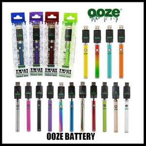 New Packaging Ooze Twist Slim Pen 320mah Vape Pen Battery Preheat Function Variable VoltaWge with USB Charger
