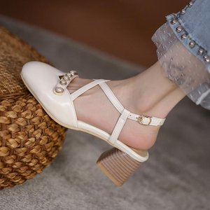 2021 Plus Size 32-45 Fashion Heels for Women Rivets Sandals Round Toe Spring Summer Dress Party Pumps Shoes Footwear 102-9