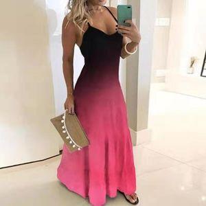2019 국경 가을 새로운 유럽 및 미국 드레스 슬림 슬리밍 그라디언트 인쇄 걸레 긴 드레스