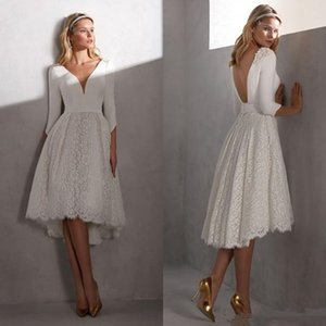 2021 Short Beach Wedding Dresses A Line V Neck Knee Length 3 4 Long Sleeve Bridal Gowns With Lace Satin Backless Wedding Gowns
