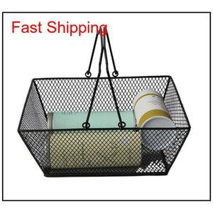 New Shopping Baskets For Cosmetics ,Powder Coated Bastket For Cosmetics Store Wire Mesh Basket With Metal Handles N.W.:0.5Kg Nov7P Kpdnl