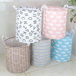 Pattern Ins Storage Baskets Clothing Organization Canvas Laundry Bag Bins Kids Room Toys Storage Bags Bucket 15 Styles WWA168