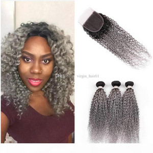 Two Tone Grey Afro Kinky Curly Lace Closure With Bundles Virgin Malaysian Human Hair Weave Bundles Kinky Curly Ombre Hair With Lace Closure