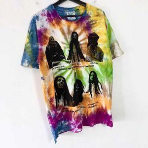 2021 New Hip Hop T Camisa Masculino Feminino 1: 1 Gravata Tingimento Casual Kanye Online Cermica Ectratamento Tshirt vonjh
