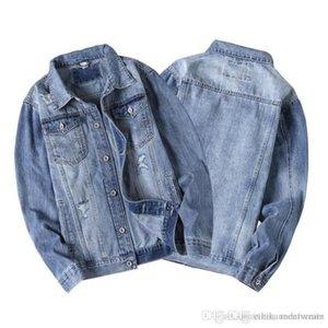 19aw lange Mode lässig zerrissen gewaschen und designer Jean Jackest Jacke Herrenjacke Revers Neck Herrenhülse ETDFL
