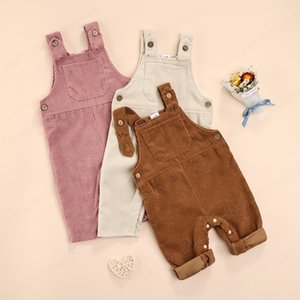 Corduroy Toddler Baby Bib Pants Overalls Autumn Winter Solid Color Square Neck Jumpsuit with Snap Fasteners for Toddler Girls