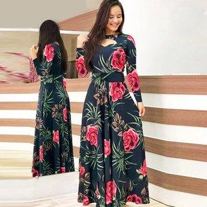 Flower Print Winter Dress Woman Casual Bohemia Long Sleeve Dresses For Women Elegant Plus Size Maxi Vestidos Autumn Dress 210222