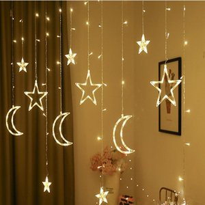 Strings Christmas Decor LED Moon Garland Curtain String Lights Fairy Light For Wedding Holiday Decoration