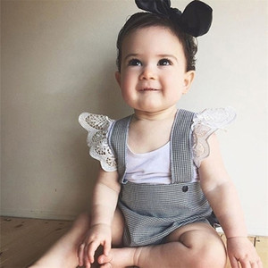 2021 Kids Summer T-Shirt Baby Lace Candy Color Stripe Printed Fly Sleeve Vest Fashion Baby Girls Short Sleeve T-shirt Tops Tee HH23LGAF