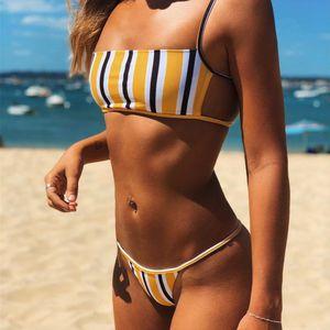 Venda como Bolos Quentes Novo 2019 Bikini Moda Nylon Color Solid Split Split Swimsuit
