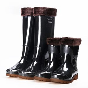 fashion Knee-high tall rain boots England style waterproof welly boots Rubber rainboots water shoes rainshoes