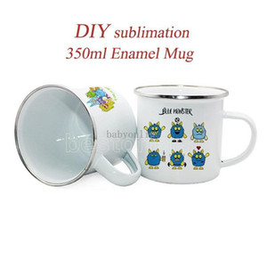 DHL Ship 350ml Enamel Mug Enamel Steel Mug Enamelled Mug Enamel Camping Coffee MugGreat for Coffee Tea Camping Use DIY Sumblimation FY4394
