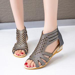 Sandalias de señoras clásicas Gladiador de moda para mujer Hollow Out Shoes Summer Female mujer cremallera en pisos Wowan Peep Toe Calzado 2020 Z7GQ #
