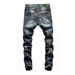 Promotion amirui Men's Rig Patch Jeans Slim-fitting Small Foot Motorcycle Pants for Young People Sell Hot men's long pant trousers