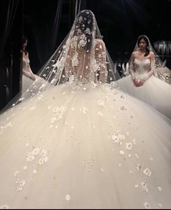 Pearl lace diamond headdress super long bridal fairy headdress bridal veil